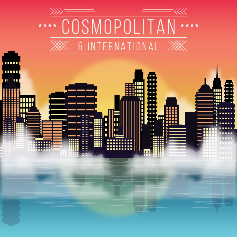A large cosmopolitan and international city